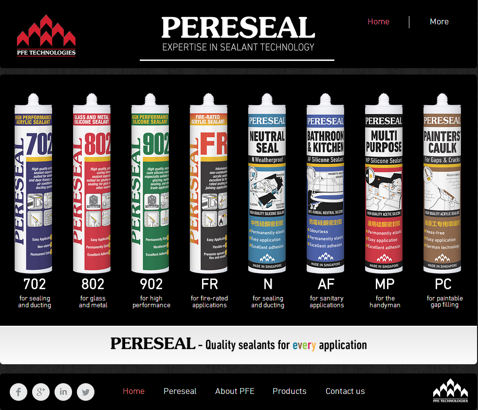 Pereseal website - Expertise in sealant technology - Silicones and Arylic